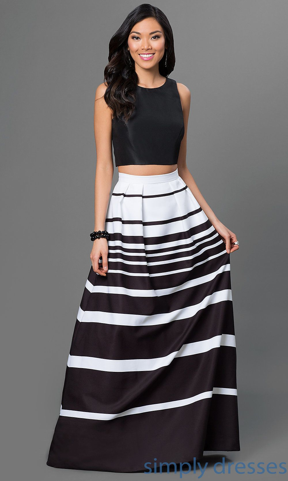 Two Piece Striped Black And White Gown By Xscape Affordable