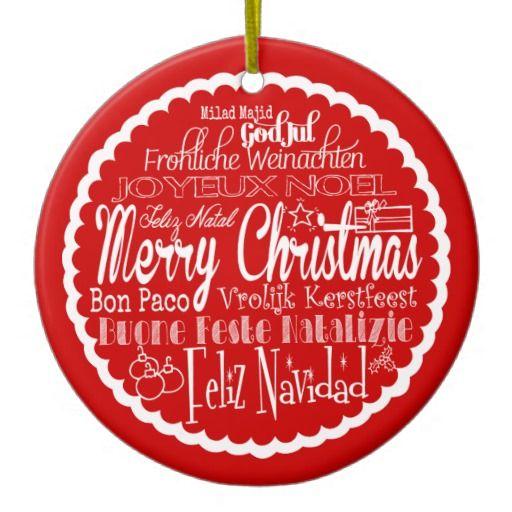 Merry Christmas Languages Christmas Ornament
