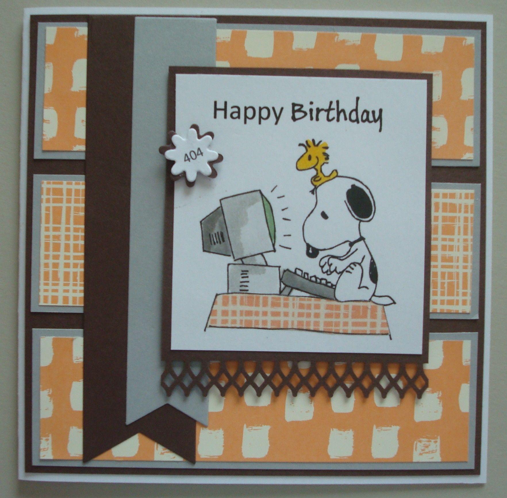 B200 Snoopy Computer Card Cards Birthdays Men Pinterest