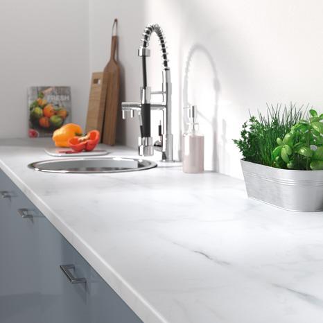 Plan De Travail Stratifie Imitation Marbre Blanc Long 2440 X Prof 630 X Ep 28 Mm Brico Depot In 2020 Living Magazine Kitchen Home Decor