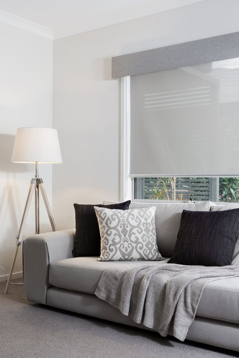 Grey coloured pelmet and translucent roller blind windows pinterest gray window and for Grey bedroom window treatments