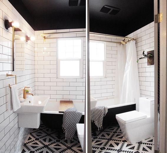 Salle de bain blanche et noire  l\u0027incroyable rénovation - Blog Deco