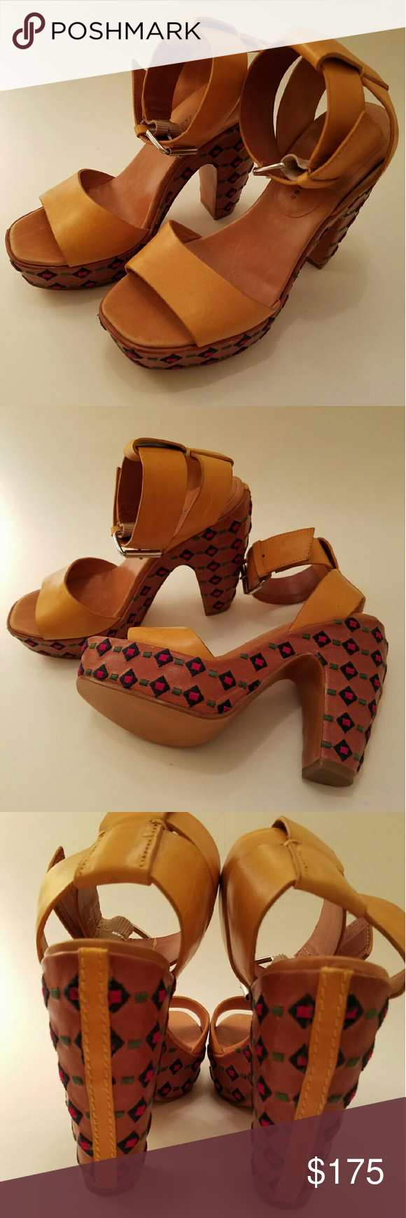 Marc by Marc Jacobs Platform Sandals Beautiful pair of Marc Jacobs leather sandals.  Gorgeous honey colored leather straps with red, blue and green embroidered detailing on the soles.  These are new without tags and have never been worn.  This item is listed twice to show more details. Marc by Marc Jacobs Shoes Platforms