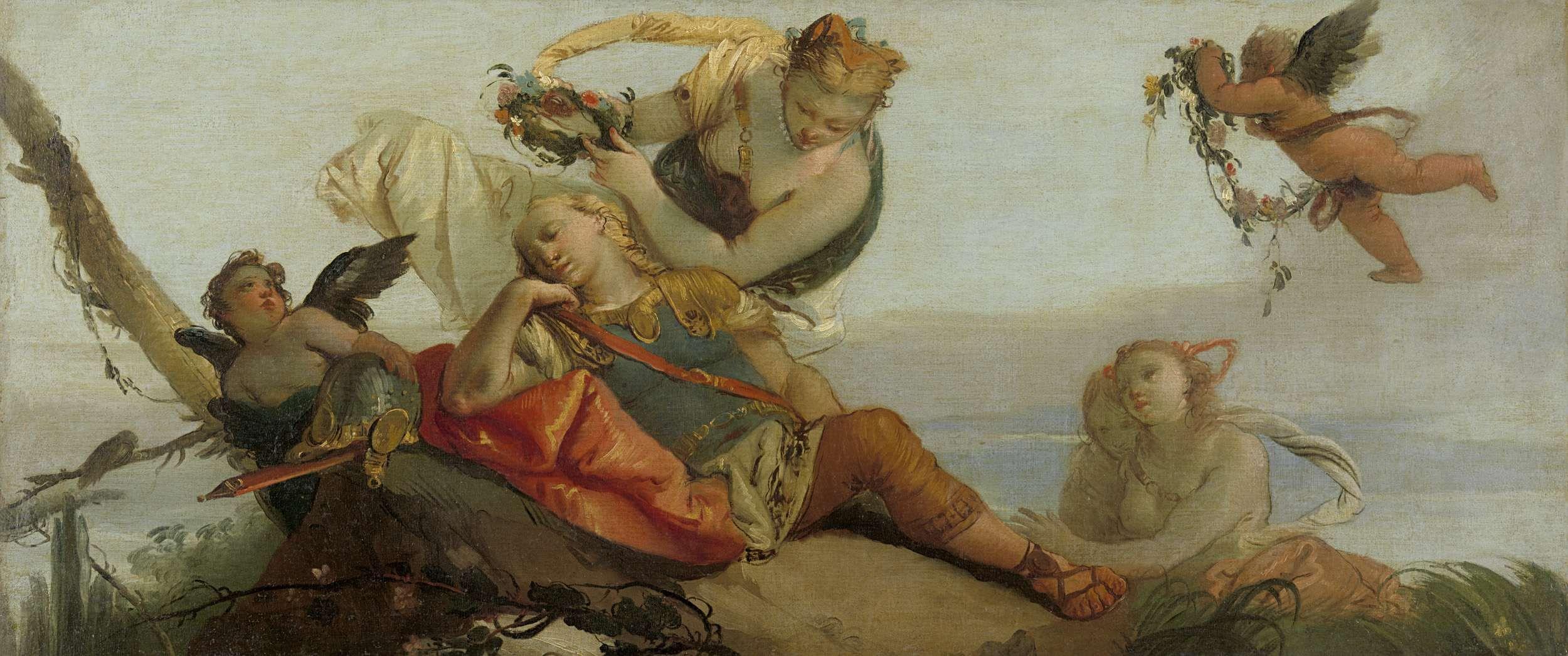 The Sleeping Rinaldo Crowned with Flowers by Armida (formerly entitled Sleeping Mars), Francesco Zugno, 1750 - 1780