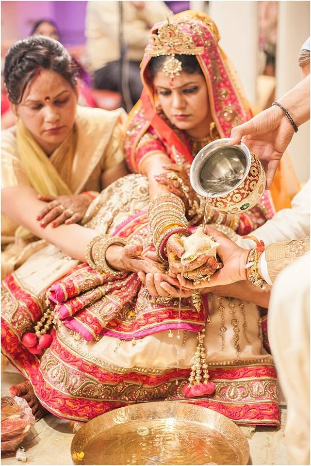 Indische Hochzeit Indien Neu Delhi Rot Orange Henna Braut