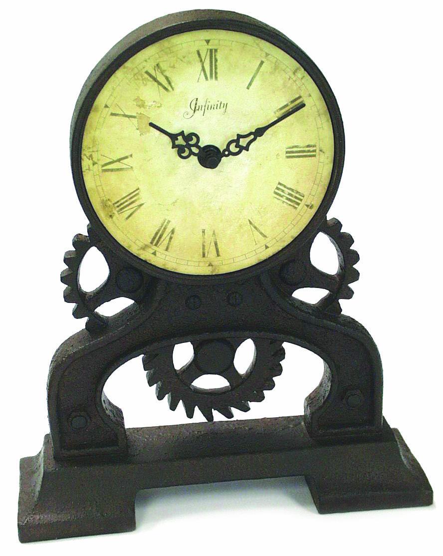 Infinity Instruments Rusty Gears Table Top Clock Gears Do Not