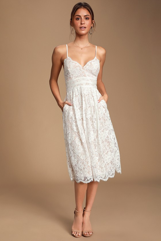 Treasure Me White Lace Midi Dress 3