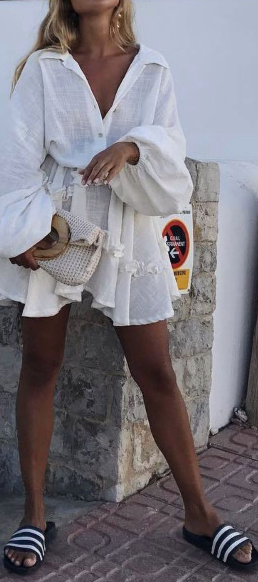 girly white dress with adidas slides ruffled dress with sporty