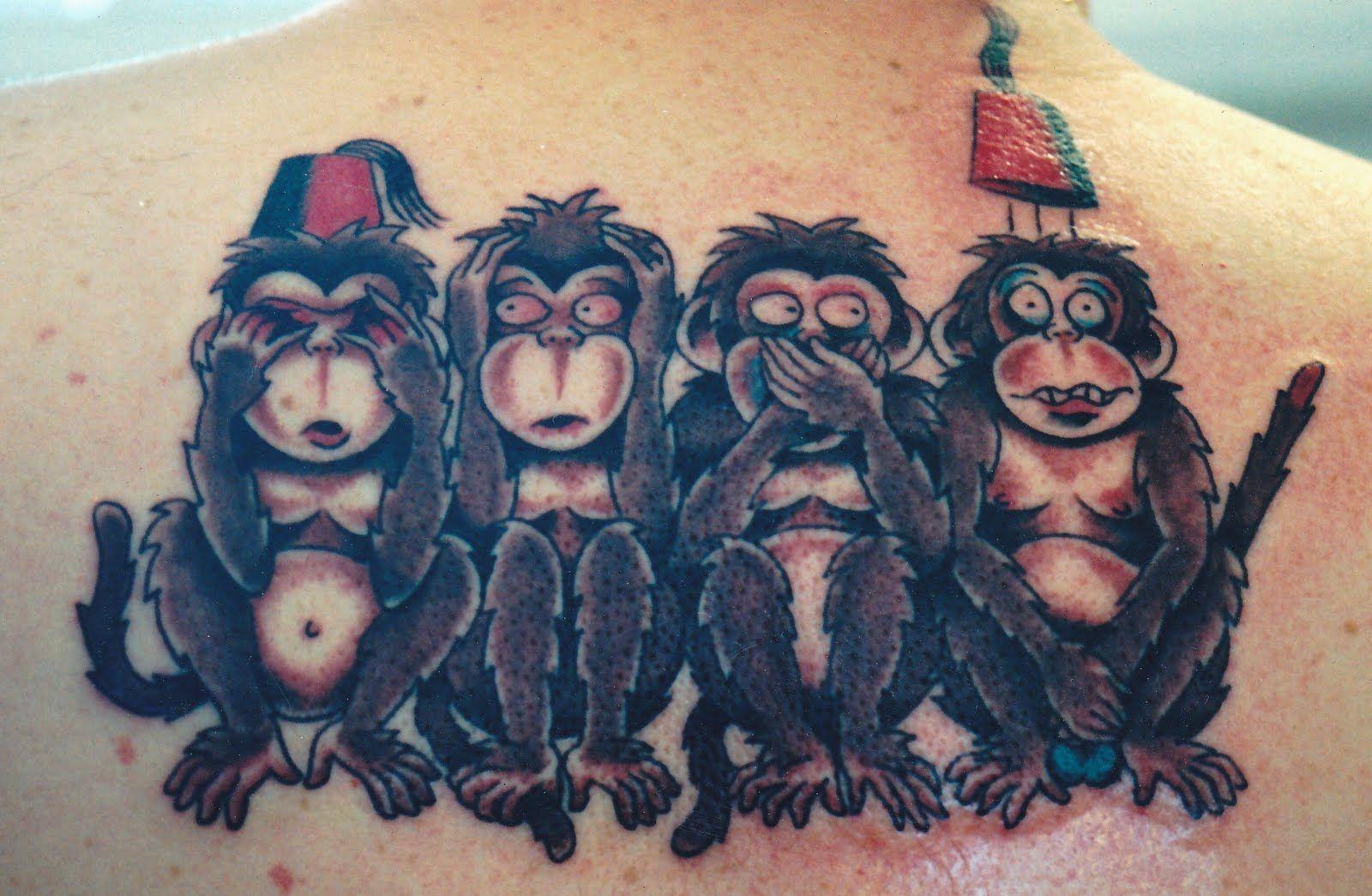 3 Monos Sabios Tatuajes four-wise-monkey-tattoo   singes de la sagesse