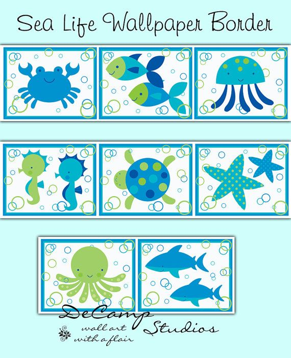 SEA LIFE NURSERY Border Decal Wall Art Ocean Animal Stickers Decor ...