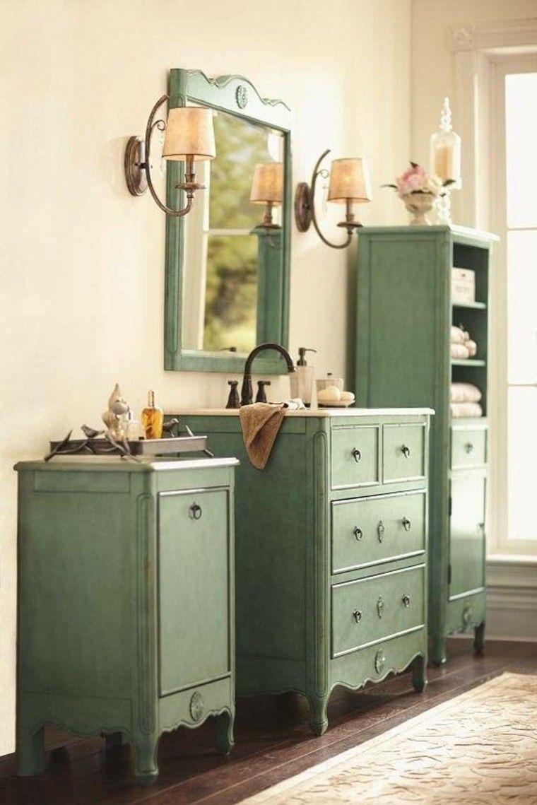 muebles de baño verdes de estilo retro | proyecto ...