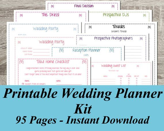 Printable Wedding Planner Instant Ultimate Kit 95 Pages