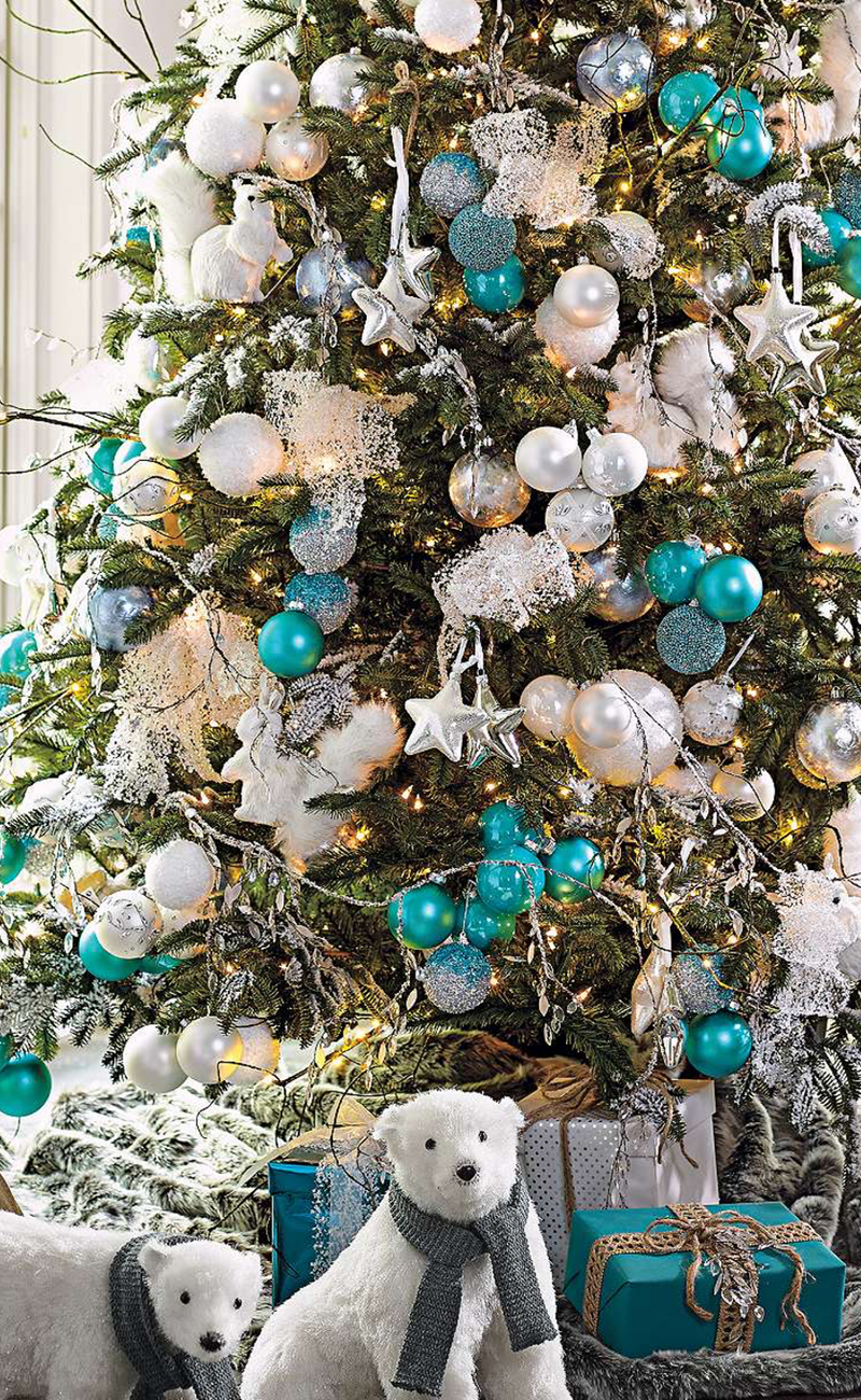 christmas tree grandin road with turquoise and white. Black Bedroom Furniture Sets. Home Design Ideas