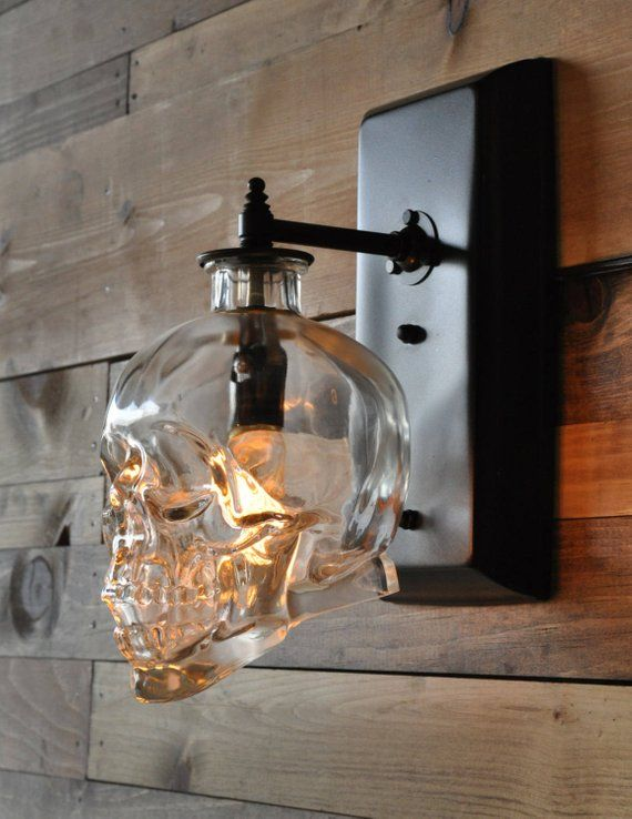 Crystal Head Vodka Skull Wall Sconce With Vintage Style