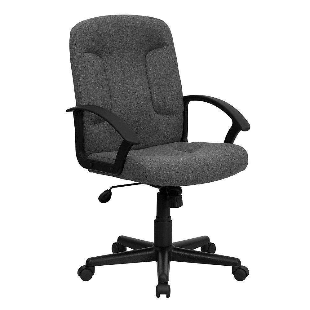 Flash furniture fabric midback swivel chair grayblack
