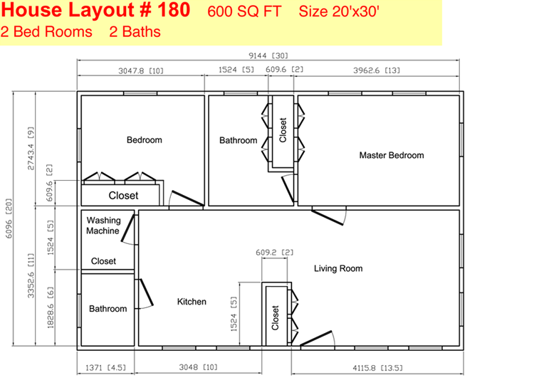 35 Ft X 20 Ft Floor Plans Click To View Print Two Bedroom