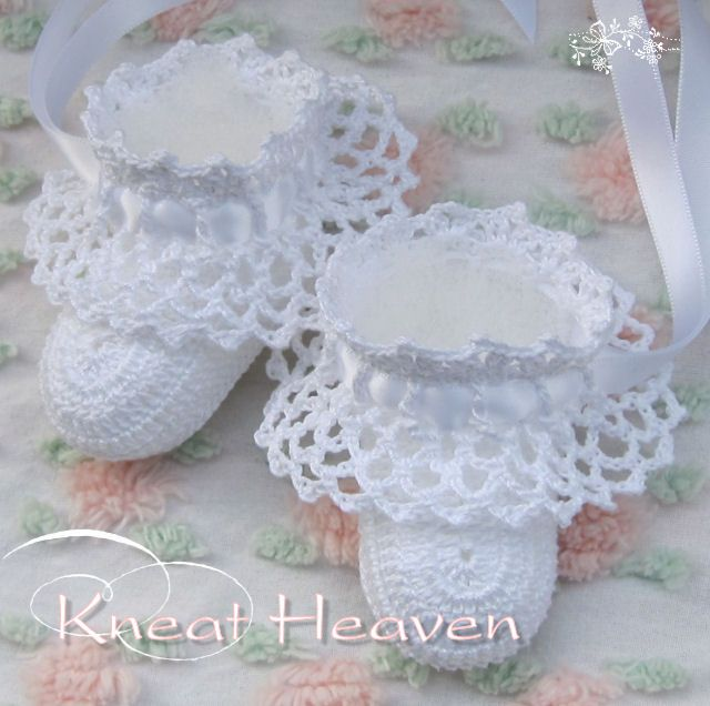 Boutique Crochet Ruffles Baby Booties #5 - Kneat Heaven Boutique - ...