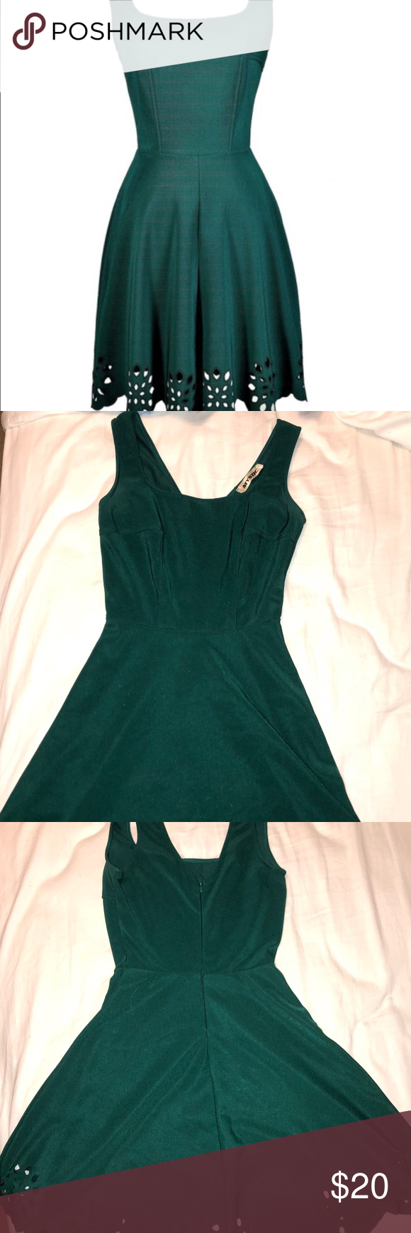 Hunter green short dress with laser cutout hem my posh picks