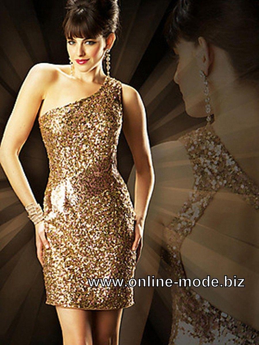 Glitter Abendkleid Kurz In Gold Abendkleid Kleider Mode Glamour