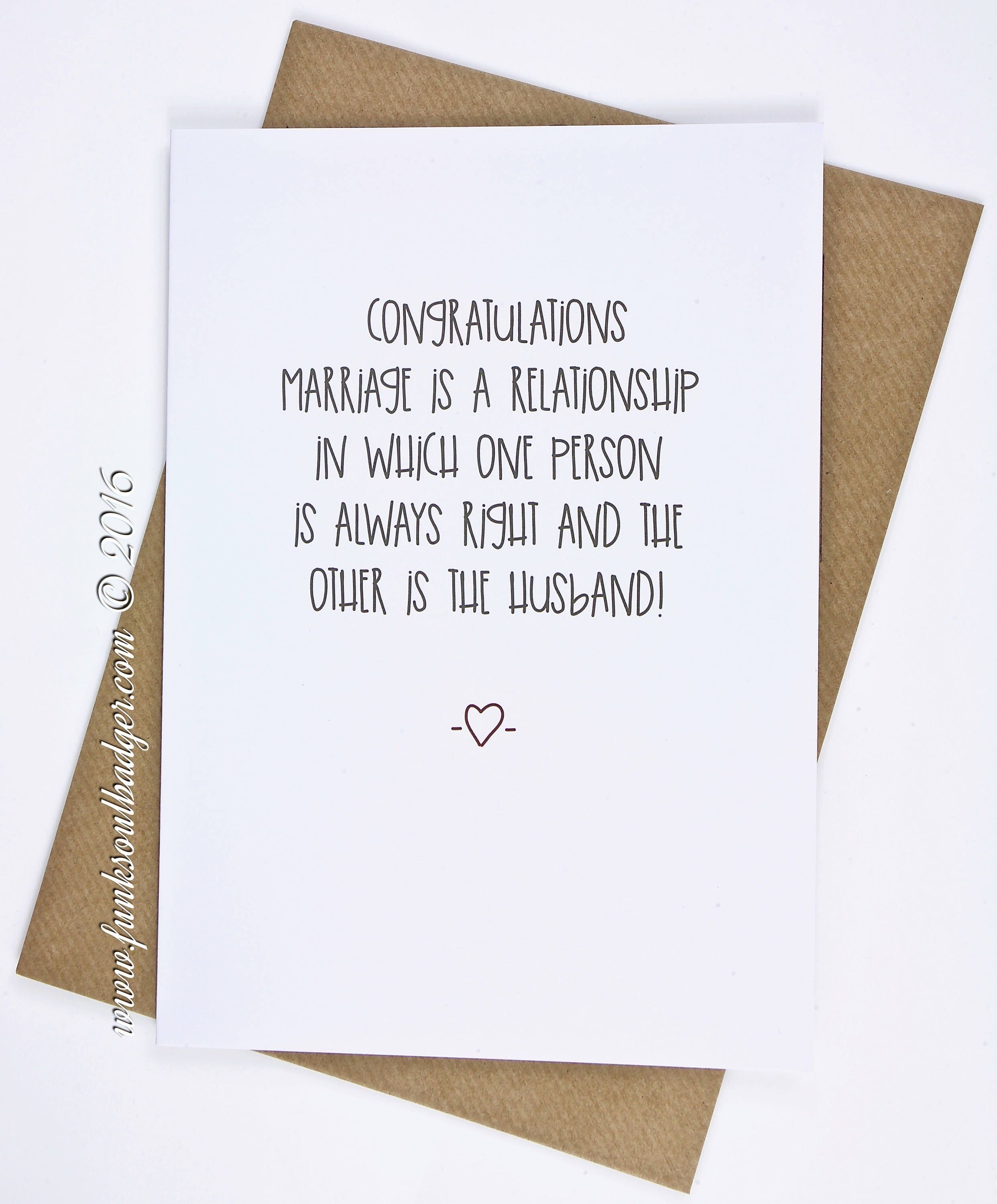 Funny Wedding Card Congratulations One Person Is Always Right