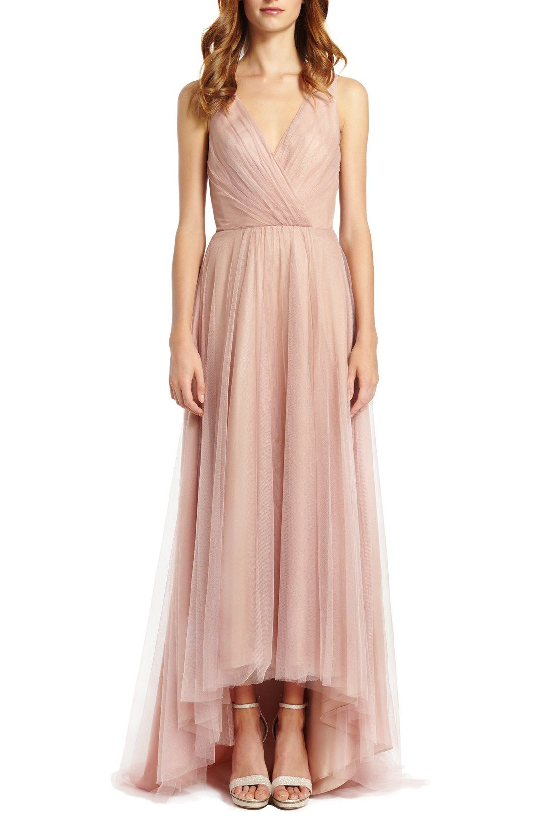 Monique Lhuillier Bridesmaids Pleat Tulle V-Neck High/Low Gown ...