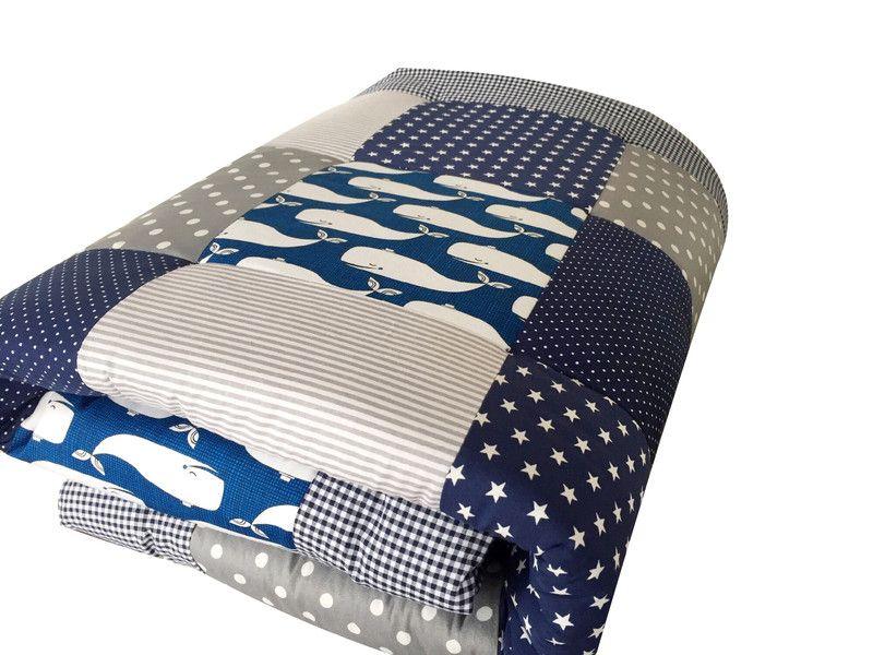 babrause Krabbeldecken -  blaue Wale - ein Designerstück von babrause bei DaWanda