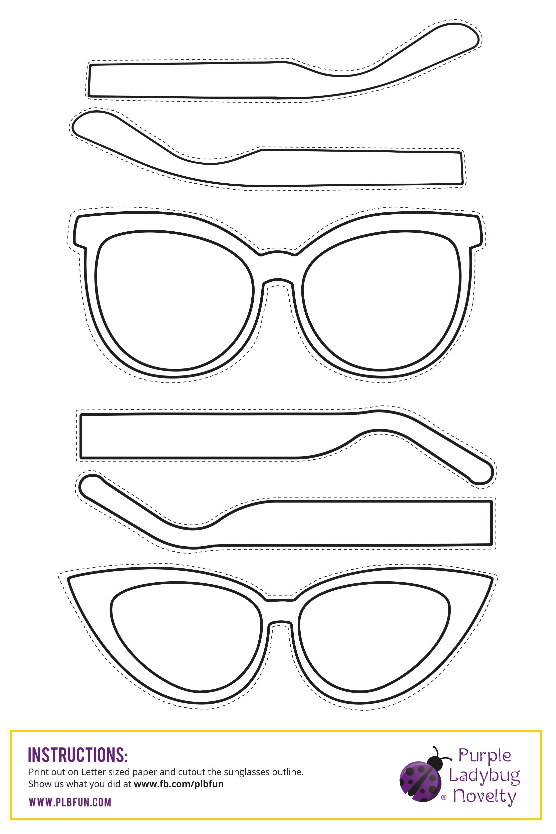 Free Printable Sunglasses Day Purple Ladybugs Diy Glasses Templates Printable Free