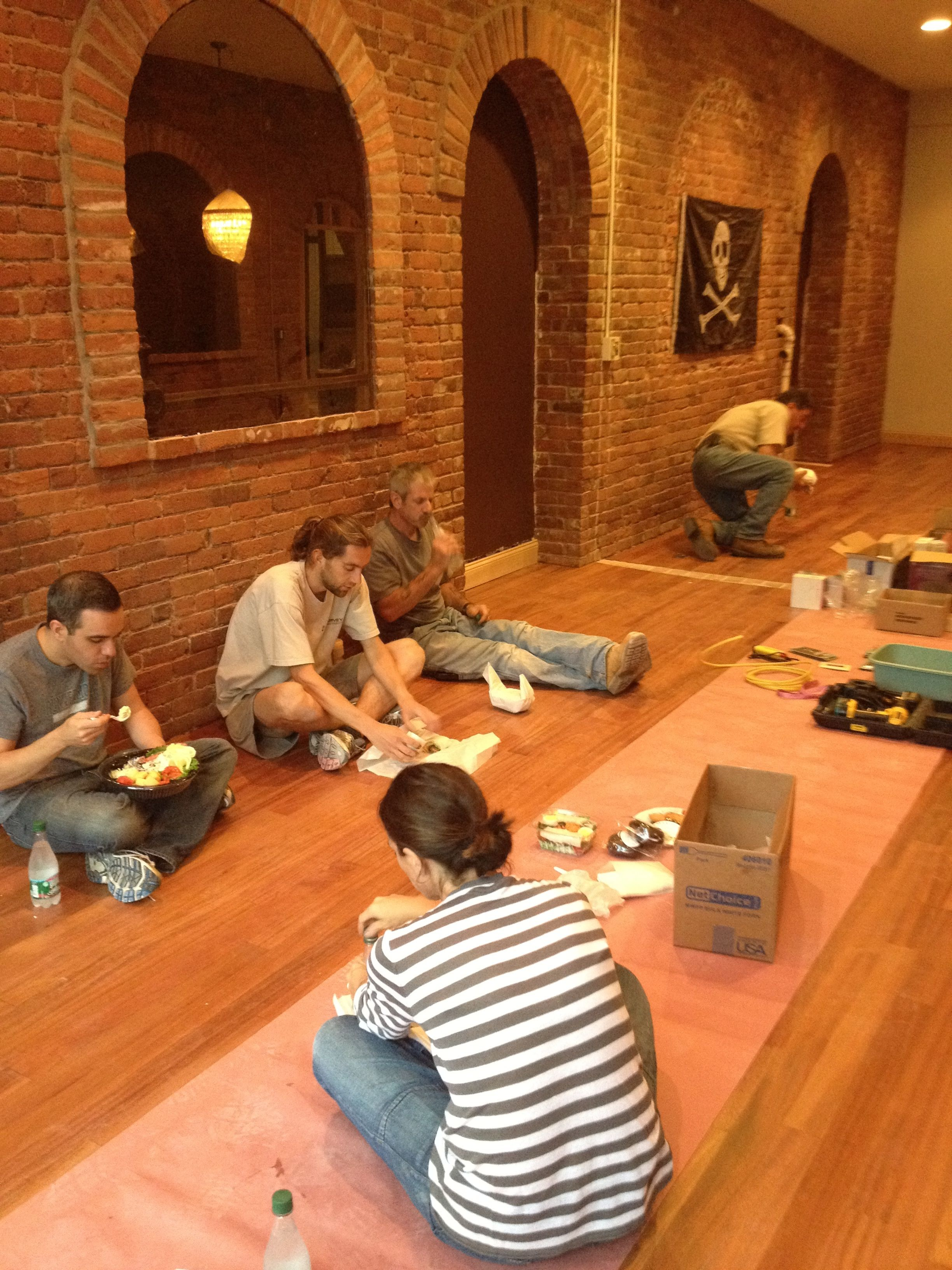 Lunch with the crew on the new floor.