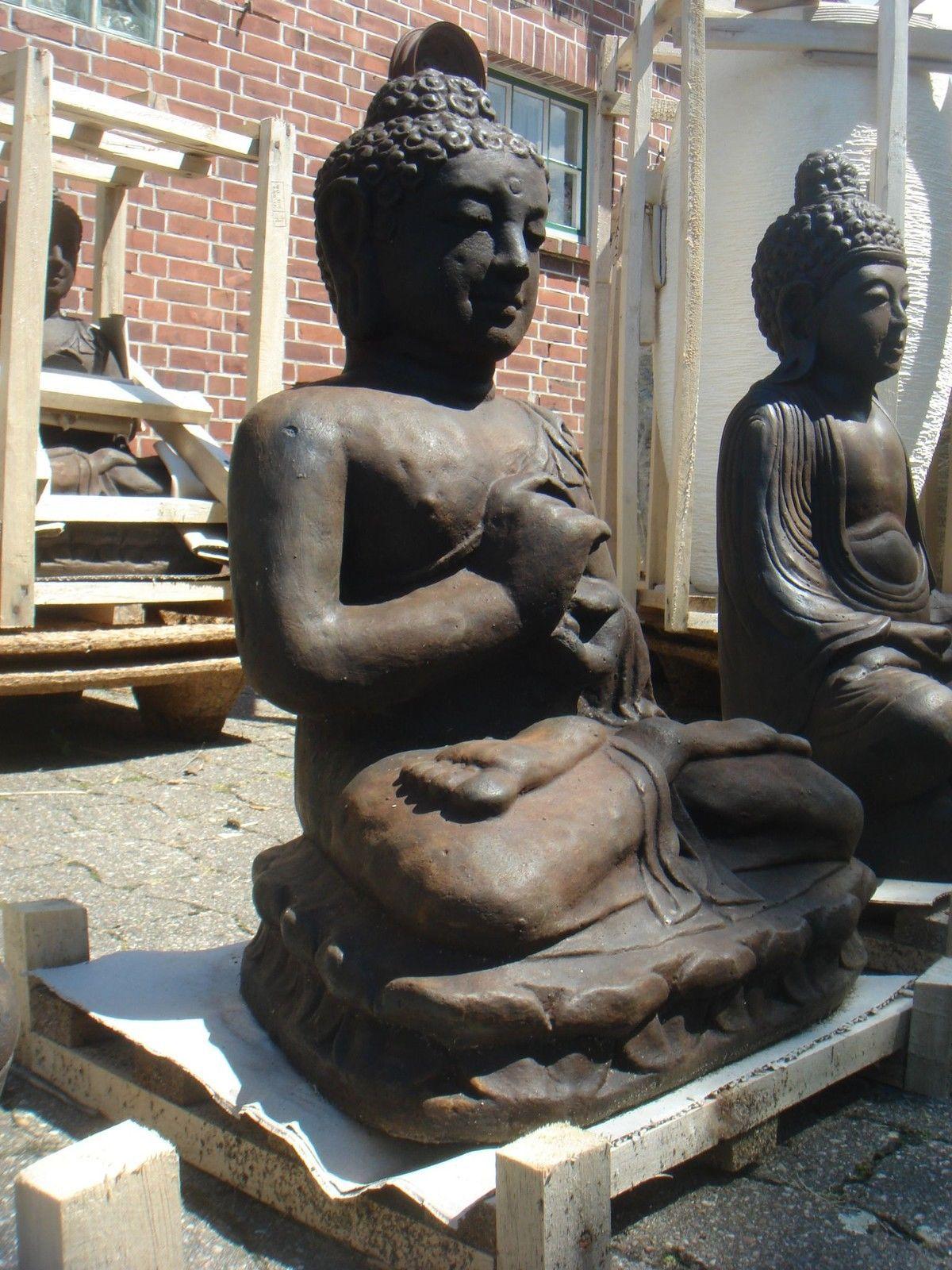 Buddha Bali Steinfigur Lavastein Statue schwer massiv 60 cm XL Garten frostfest