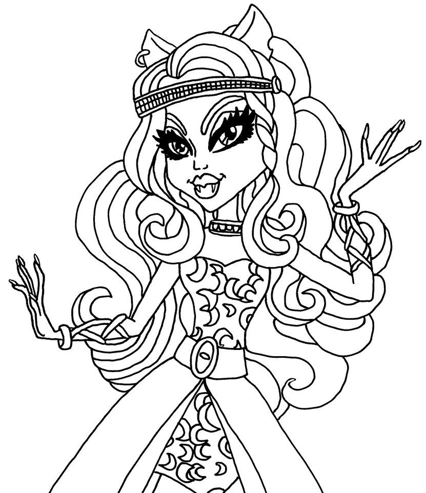A Coloring Page Of Clawdeen In Her 13 Wishes Outfit Coloring