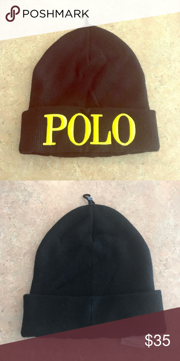 b2967368 Ralph Lauren Polo Hat Black with Yellow writing POLO Ralph Lauren Hat. Polo  by Ralph Lauren Accessories Hats