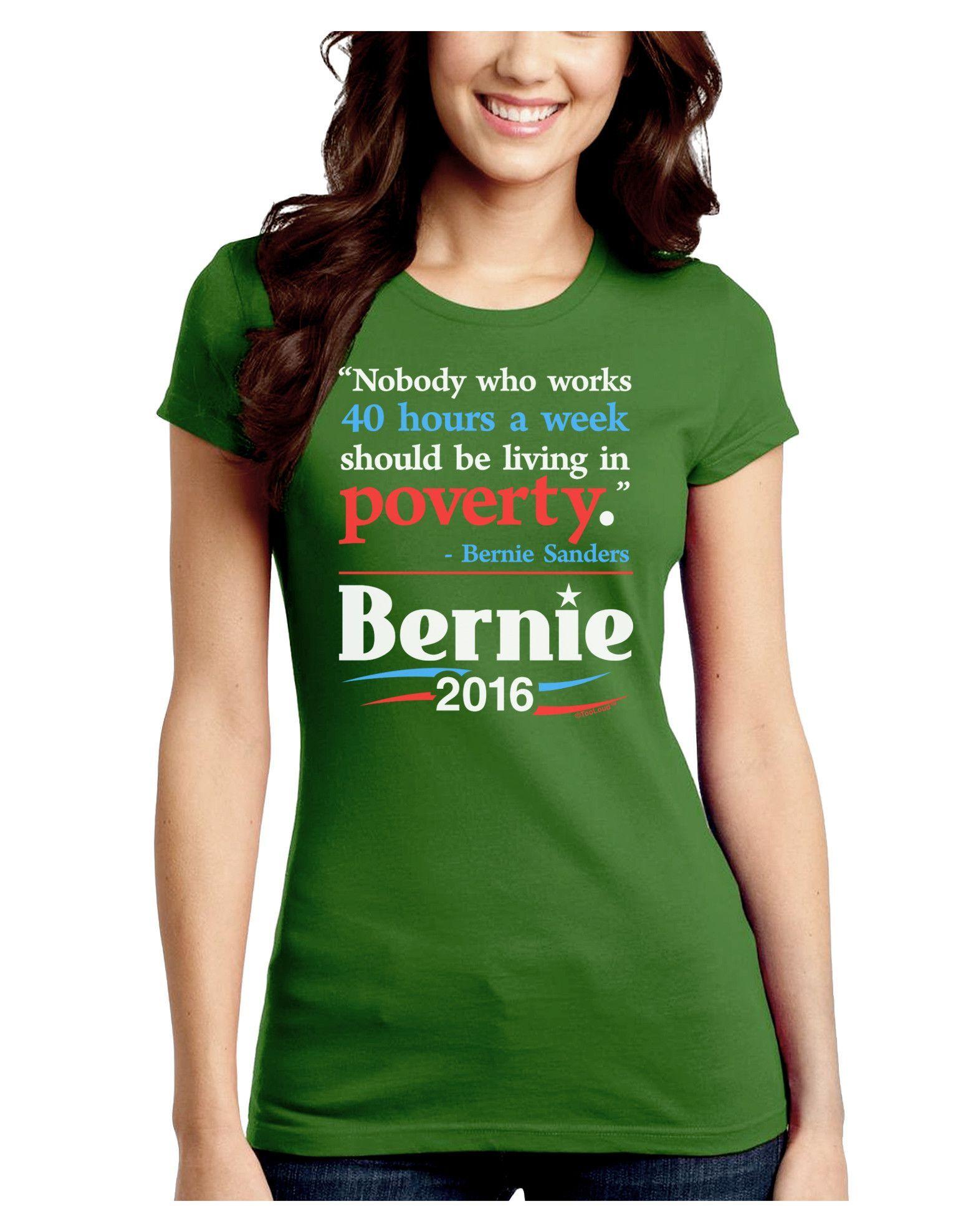 TooLoud Bernie on Jobs and Poverty Juniors Petite Crew Dark T-Shirt