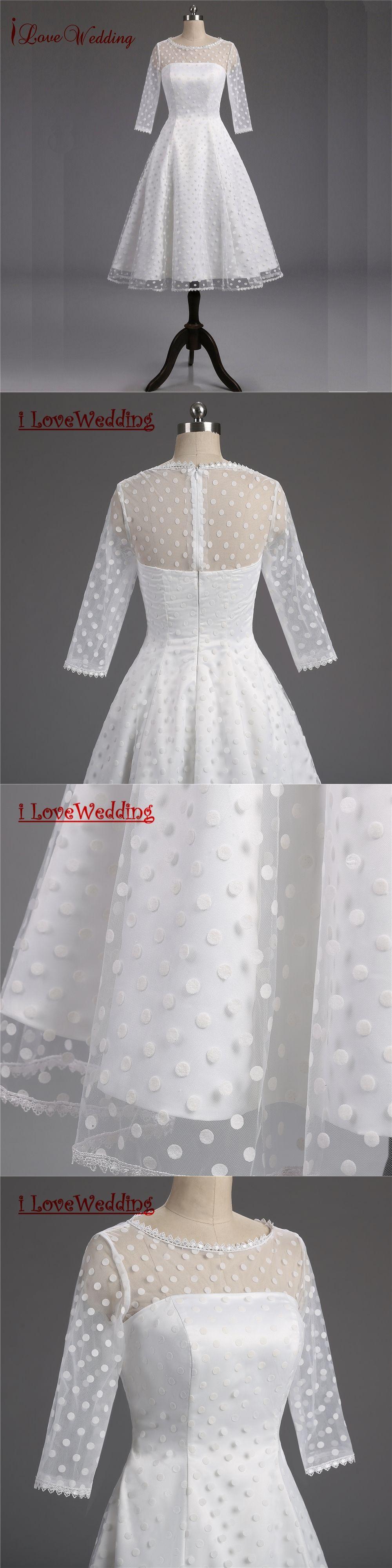 1950s style wedding dresses   Real s Retro Polka Dotted Short Wedding Dress KneeLength