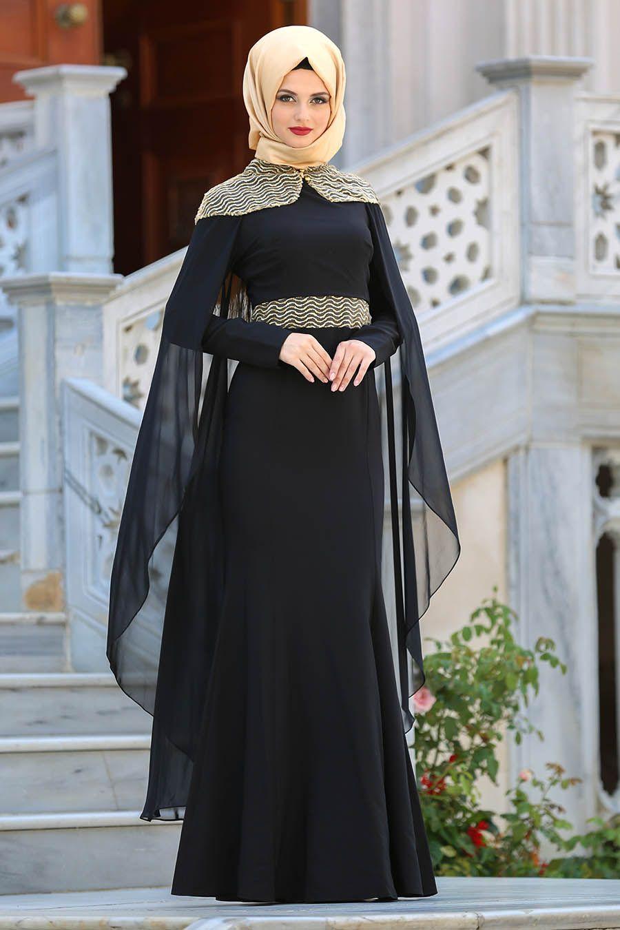 3b43fae65cb6e 2018 Yeni Sezon Abiye Koleksiyonu - Tesettürlü Abiye Elbise - Pelerinli  Siyah Tesettür Abiye Elbise 63611S