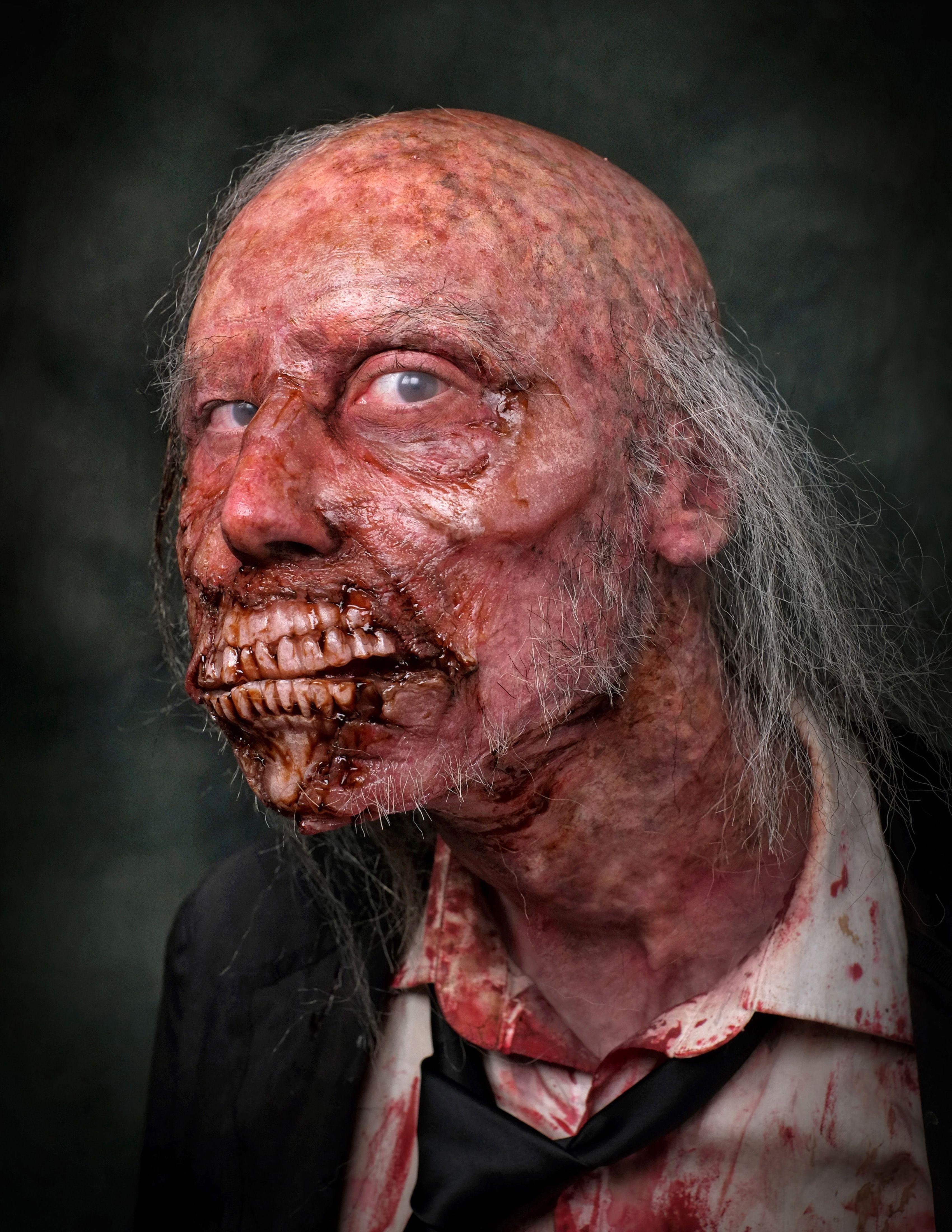 Alex the Zombie- all gelatin prosthetics, bald cap, hand-laid hair ...