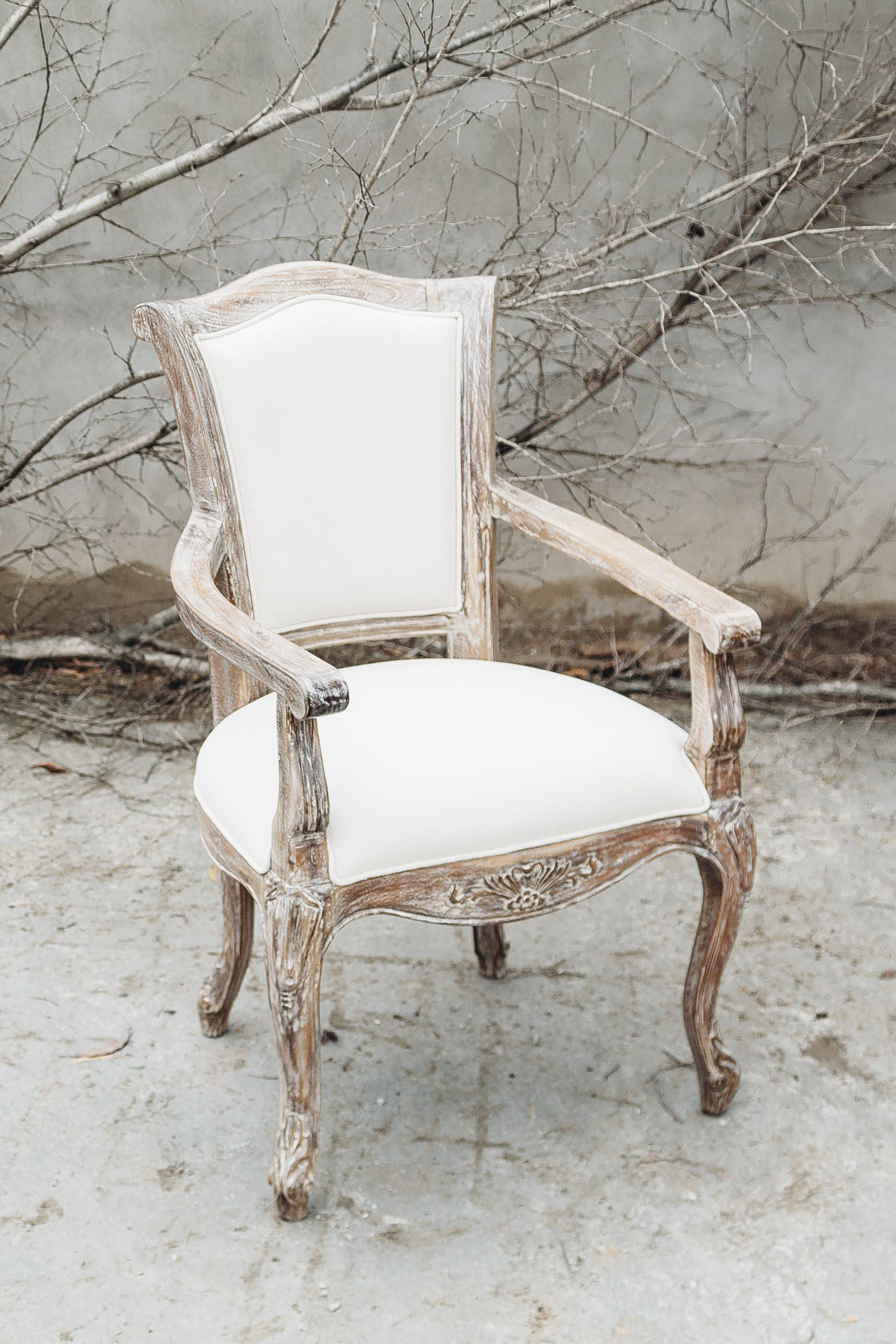 French Provincial Style Chair With Lime Wash Finish Work Project Fine Furniture