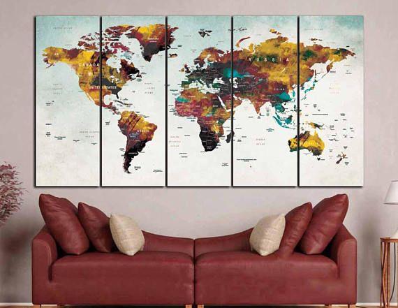 world map wall artlarge world mappush pin maptravel map