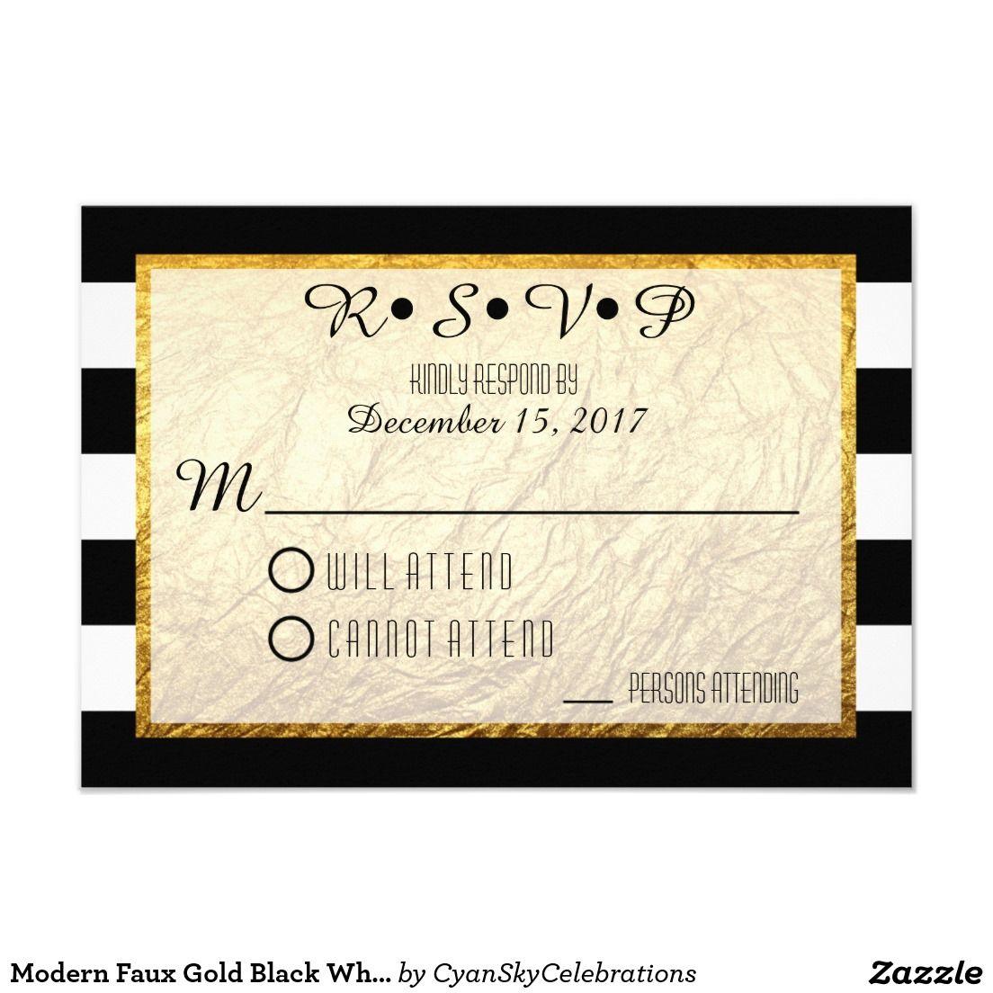 Modern Faux #Gold Black White Stripe #Wedding #RSVP 3.5x5 Paper ...