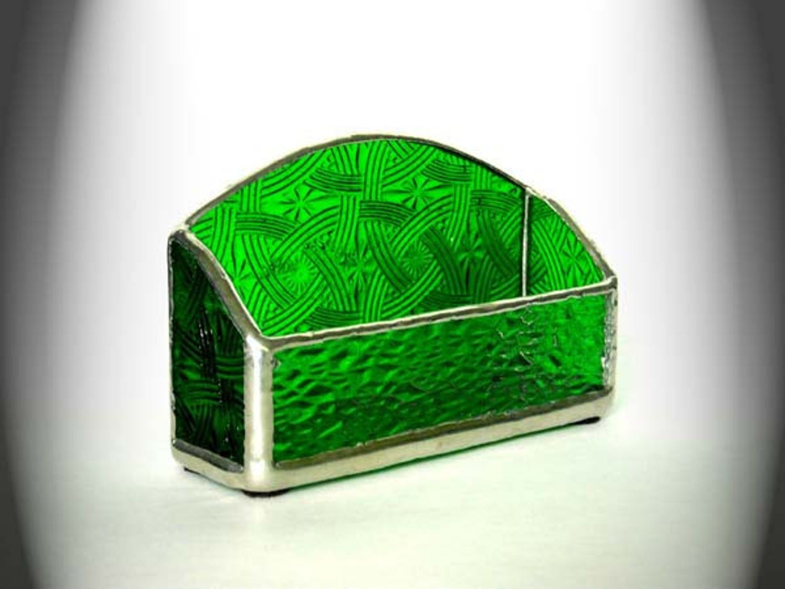 Green Stained Glass Business Card Holder Etsy Stained Glass Panels Stained Glass Candle Holders Stained Glass Candles