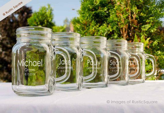 1 Personalized Mason Jar Mugs Groomsmen Gift Custom Engraved Mason Jar Wedding P Wedding Gifts For Groomsmen Wedding Party Groomsmen Personalized Mason Jars