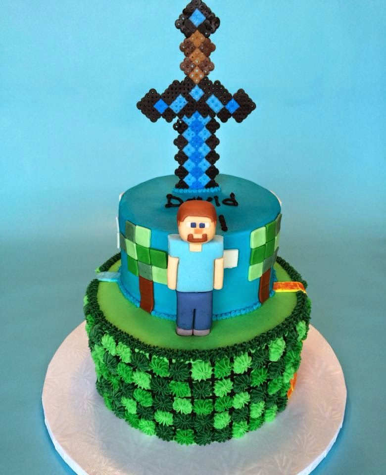 Minecraft Birthday Cake With Diamond Sword And Steve