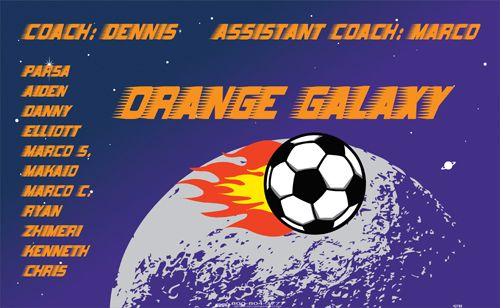 Galaxy-Orange-42730 digitally printed vinyl soccer sports team banner. Made in the USA and shipped fast by BannersUSA. www.bannersusa.com