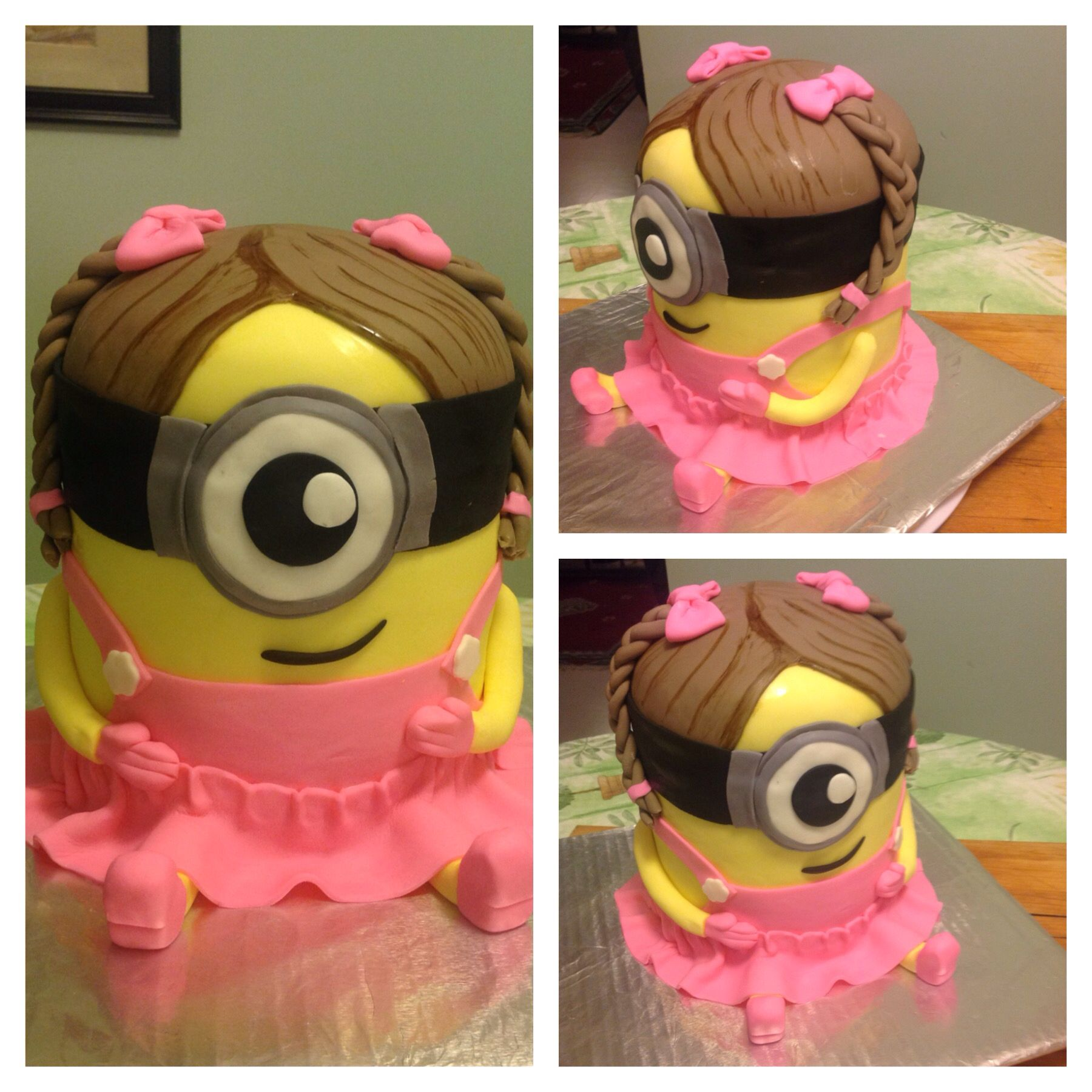 Girl Minion cake for a family member made with fondant
