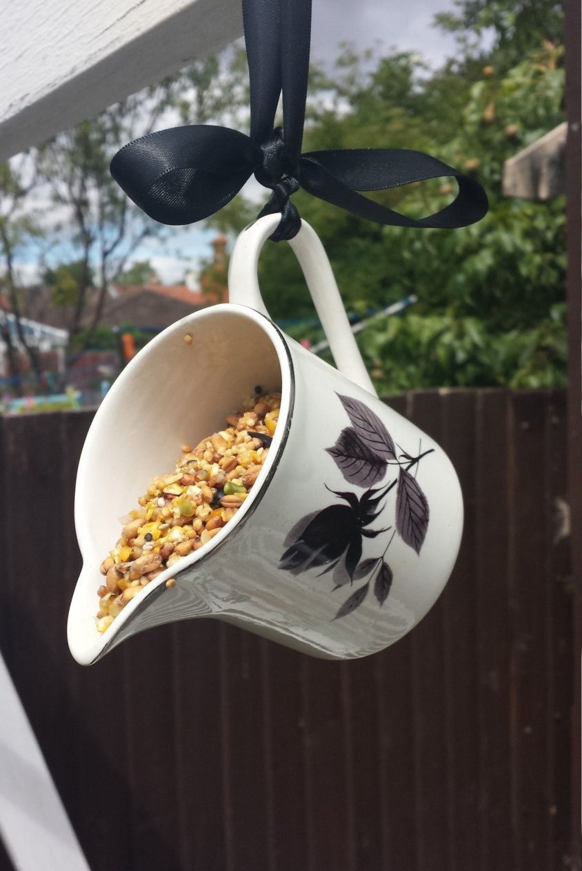 China jug bird feeder, unique gift for a bird lover. Re-purposed garden ornament, shabby chic, garden decoration, vintage garden accessory. - pinned by pin4etsy.com