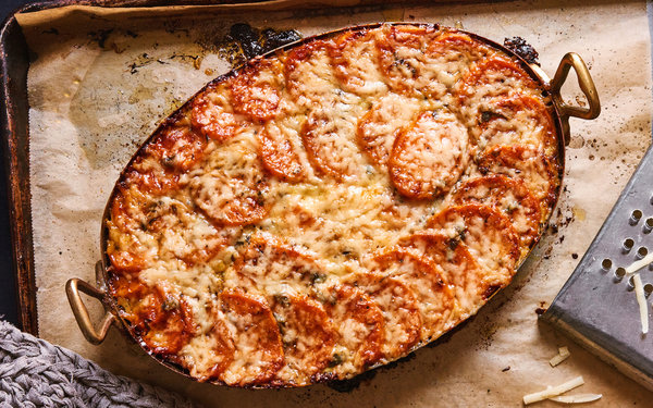 This rich cheeseladen gratin is a more savory take on the usual Thanksgiving s