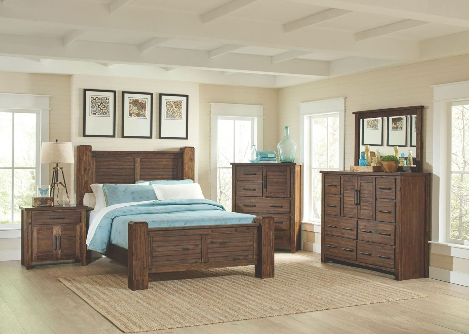 Includes Bed Headboard Footboard And Rails Dresser Mirror And One Nightstand Mattress Sold Separately Bedroom Set Bedroom Panel 5 Piece Bedroom Set