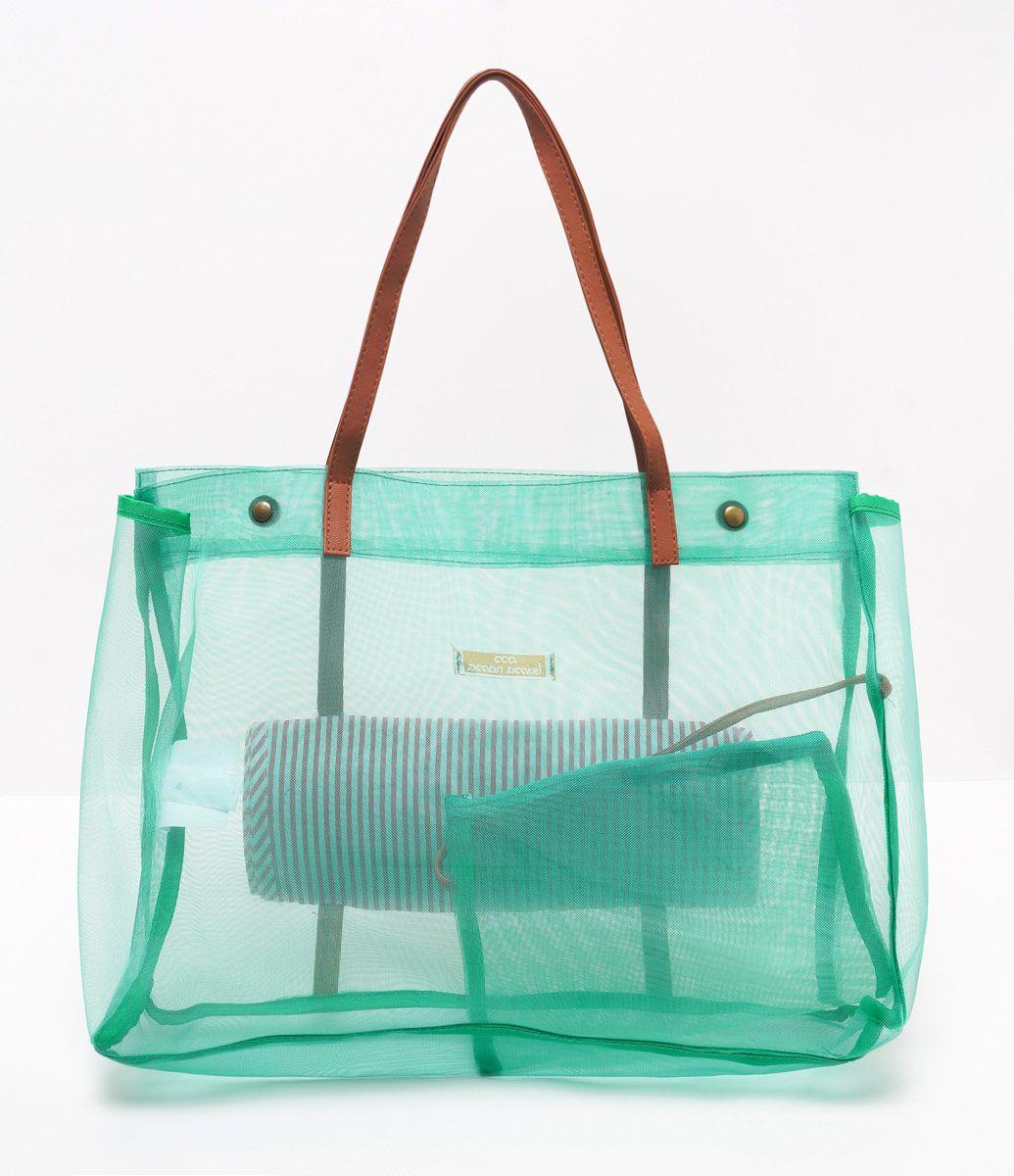 108c3f4492c45 Bolsa feminina Modelo praia Alças em material sintético Acompanha esteira  de palha Material  tela Marca
