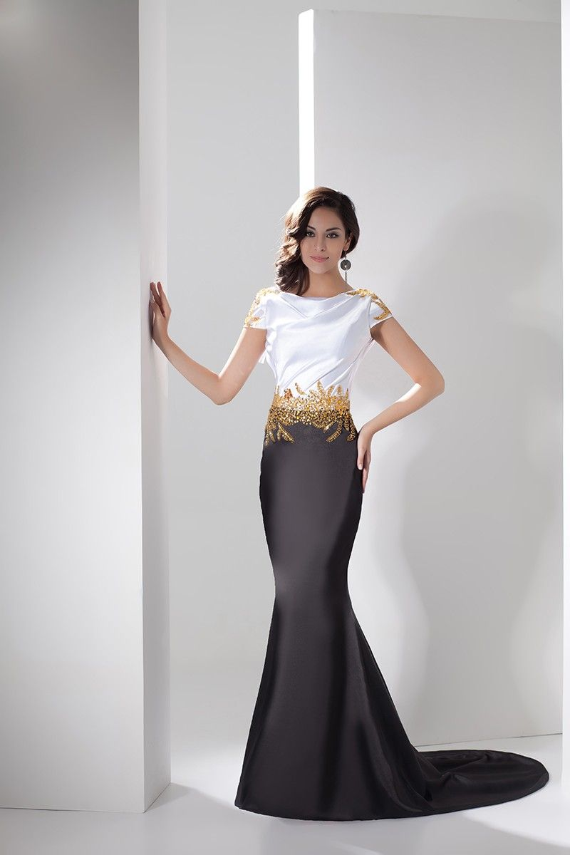 67f3a52c9fbd7 Amazing Black and White Formal Dresses : Elegant Black White Satin Gold  Beading Mermaid Formal Dress