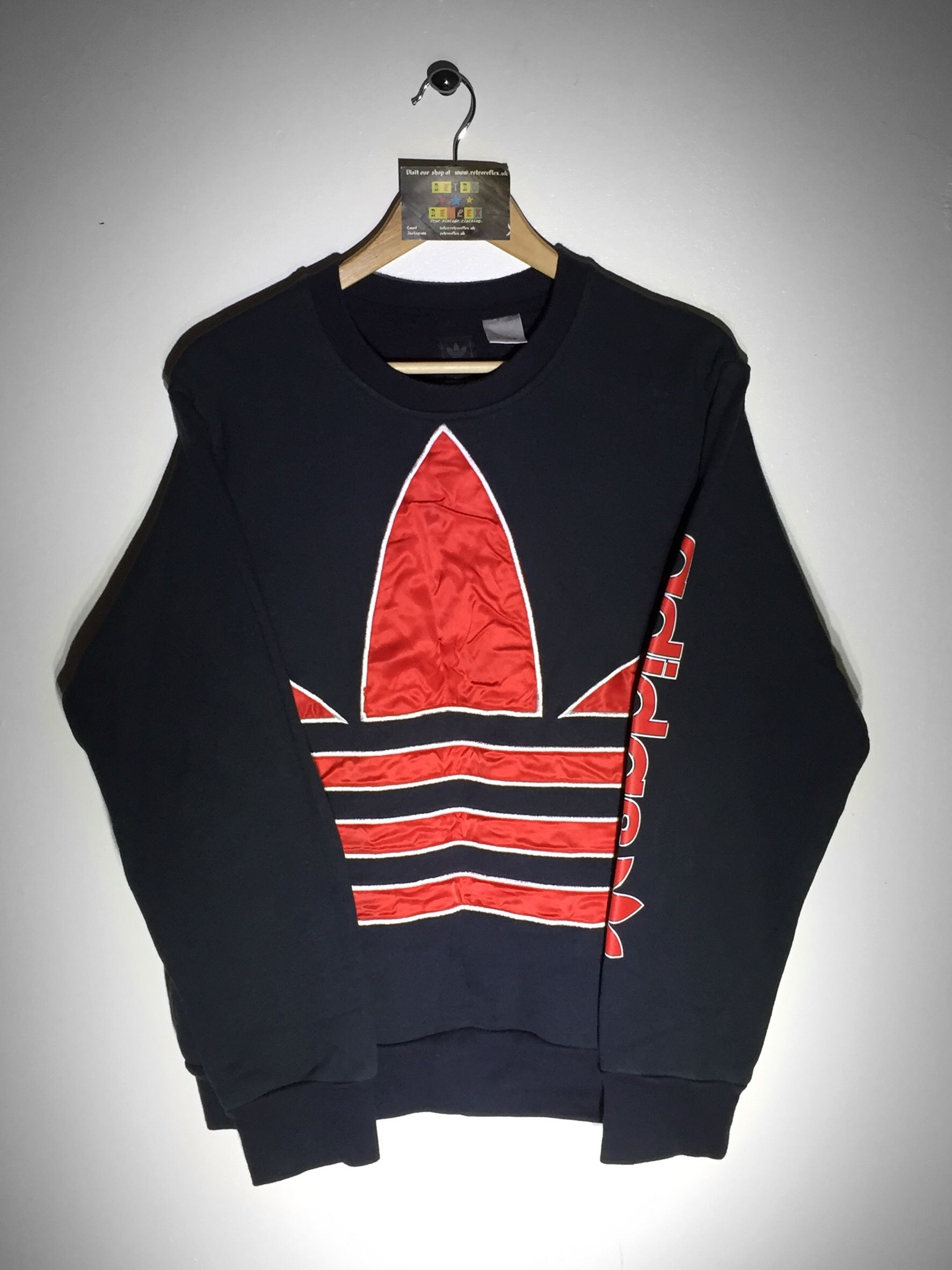 Rare!! Adidas Sweatshirt Spell Out Embroidery Colours Pullover Crewneck Long Sleeves Medium Size LeEBlnmG