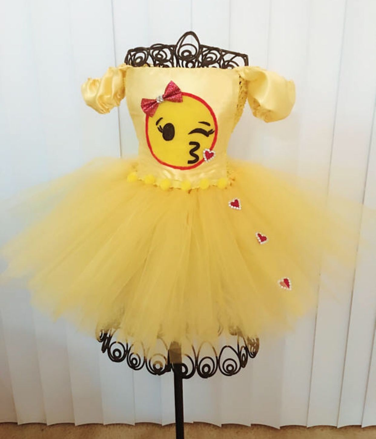 f959f5260e Tutu Costumes · Blowing a kiss yellow Emoji dress with rhinestone  hearts...adorable.